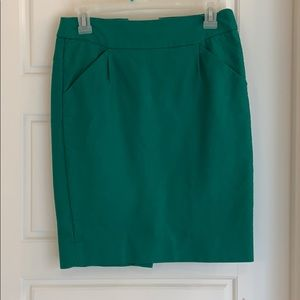 JCrew Factory green pencil skirt